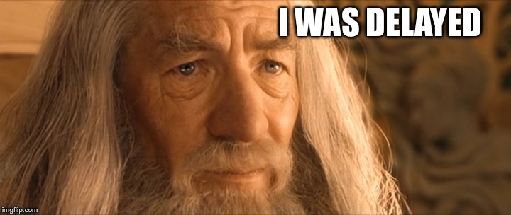 delayed gandalf | I WAS DELAYED | image tagged in delayed gandalf | made w/ Imgflip meme maker