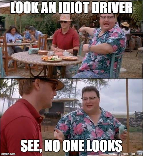 See? No one cares | LOOK AN IDIOT DRIVER SEE, NO ONE LOOKS | image tagged in see no one cares | made w/ Imgflip meme maker