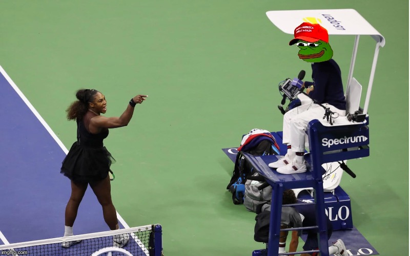 Pepe vs. Serena | image tagged in serena williams | made w/ Imgflip meme maker