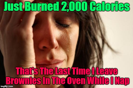 Never nap while baking..Bad Idea | Just Burned 2,000 Calories That's The Last Time I Leave Brownies In The Oven While I Nap | image tagged in memes,first world problems,nap,baking,burnt the brownies | made w/ Imgflip meme maker