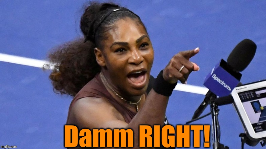 Serena Williams | Damm RIGHT! | image tagged in serena williams | made w/ Imgflip meme maker