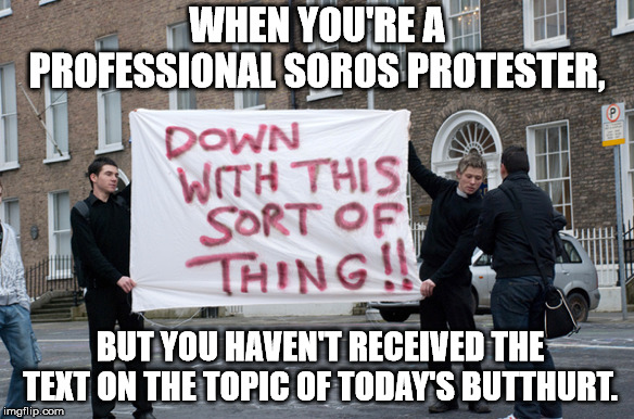 WHEN YOU'RE A PROFESSIONAL SOROS PROTESTER, BUT YOU HAVEN'T RECEIVED THE TEXT ON THE TOPIC OF TODAY'S BUTTHURT. | image tagged in meme,protester | made w/ Imgflip meme maker