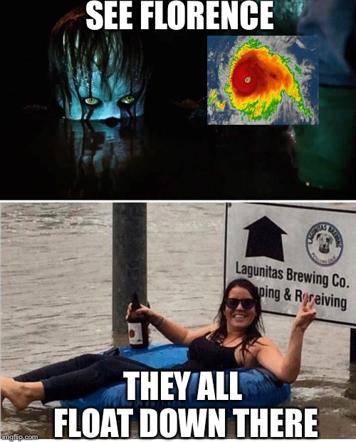 SEE FLORENCE THEY ALL FLOAT DOWN THERE | image tagged in hurricane,north carolina,south carolina,florence | made w/ Imgflip meme maker