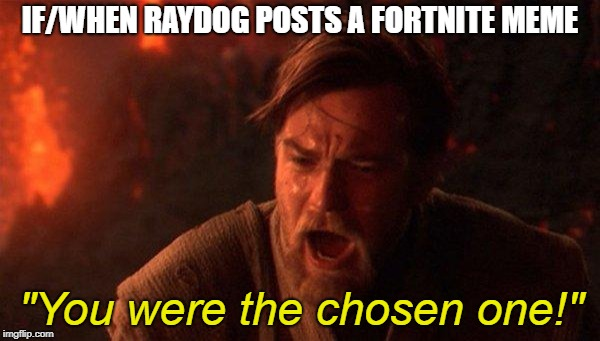 "Or any top ten creator |  IF/WHEN RAYDOG POSTS A FORTNITE MEME; ""You were the chosen one!"" 