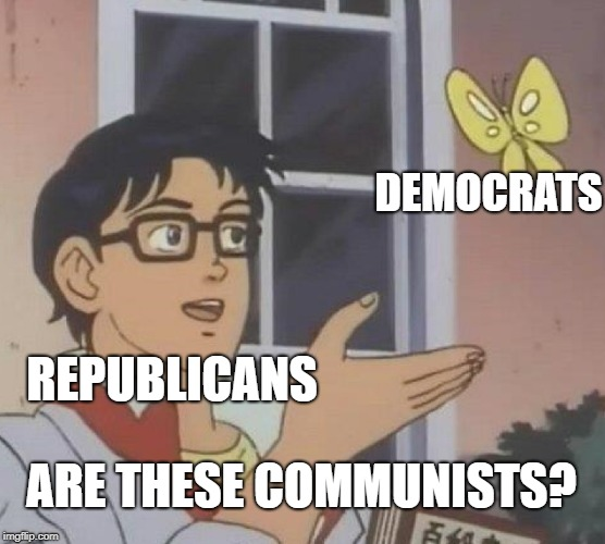 Is This Communist? | REPUBLICANS DEMOCRATS ARE THESE COMMUNISTS? | image tagged in memes,is this a pigeon | made w/ Imgflip meme maker