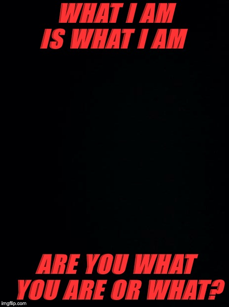 Black background | WHAT I AM IS WHAT I AM ARE YOU WHAT YOU ARE OR WHAT? | image tagged in black background | made w/ Imgflip meme maker
