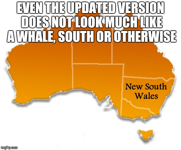 EVEN THE UPDATED VERSION DOES NOT LOOK MUCH LIKE A WHALE, SOUTH OR OTHERWISE | made w/ Imgflip meme maker