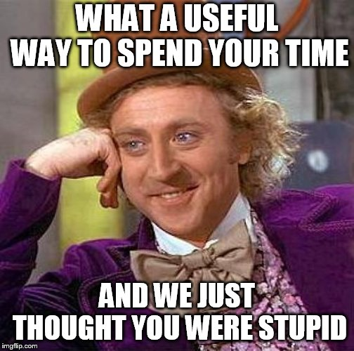 Creepy Condescending Wonka Meme | WHAT A USEFUL WAY TO SPEND YOUR TIME AND WE JUST THOUGHT YOU WERE STUPID | image tagged in memes,creepy condescending wonka | made w/ Imgflip meme maker