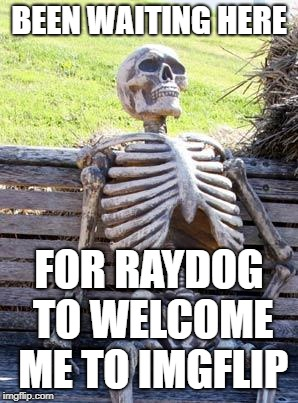 Waiting Skeleton Meme | BEEN WAITING HERE FOR RAYDOG TO WELCOME ME TO IMGFLIP | image tagged in memes,waiting skeleton | made w/ Imgflip meme maker