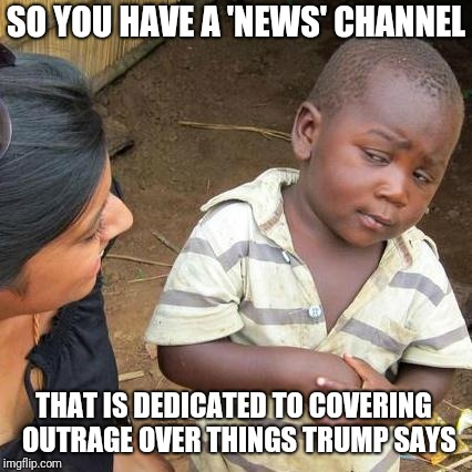 Third World Skeptical Kid Meme | SO YOU HAVE A 'NEWS' CHANNEL THAT IS DEDICATED TO COVERING  OUTRAGE OVER THINGS TRUMP SAYS | image tagged in memes,third world skeptical kid,cnn sucks,cnn fake news | made w/ Imgflip meme maker