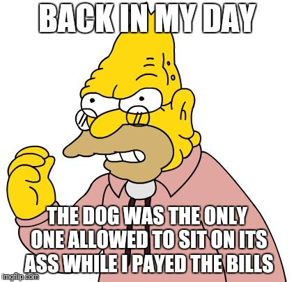 BACK IN MY DAY THE DOG WAS THE ONLY ONE ALLOWED TO SIT ON ITS ASS WHILE I PAYED THE BILLS | made w/ Imgflip meme maker