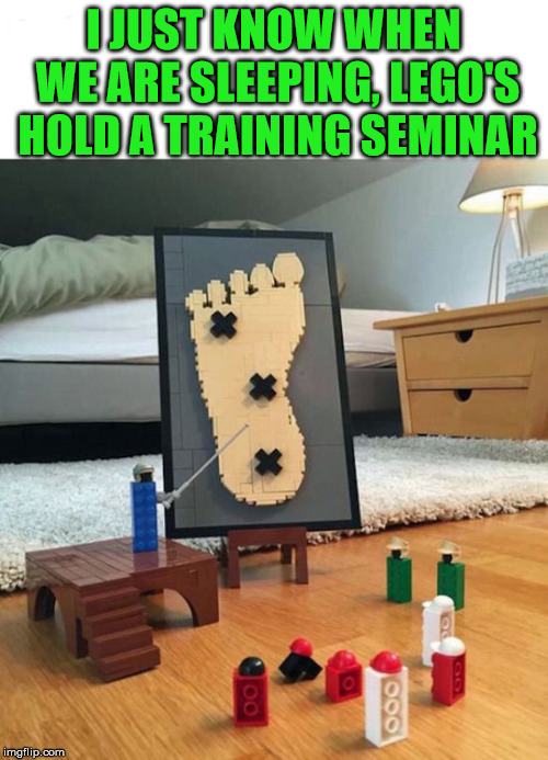 I know all parents know this pain. I am sure that the kids are in on it. | I JUST KNOW WHEN WE ARE SLEEPING, LEGO'S HOLD A TRAINING SEMINAR | image tagged in memes,stepping on a lego,lego,pain,anger,funny meme | made w/ Imgflip meme maker