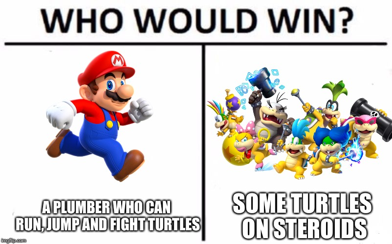 Who Would Win? Meme | A PLUMBER WHO CAN RUN, JUMP AND FIGHT TURTLES SOME TURTLES ON STEROIDS | image tagged in memes,who would win,mario,super mario bros,bowser jr,steroids | made w/ Imgflip meme maker