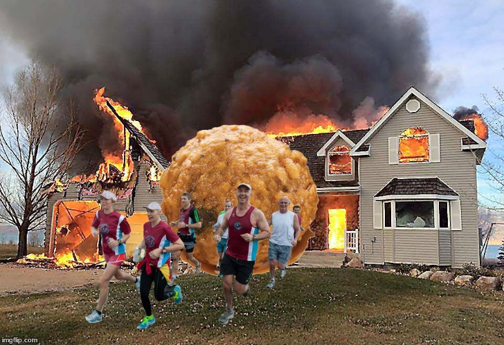 Now that's a spicy meatball! | image tagged in memes,fire,funny,meatball,house on fire,no caption | made w/ Imgflip meme maker