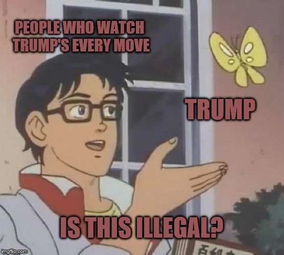 Is This A Pigeon Meme | PEOPLE WHO WATCH TRUMP'S EVERY MOVE TRUMP IS THIS ILLEGAL? | image tagged in memes,is this a pigeon | made w/ Imgflip meme maker