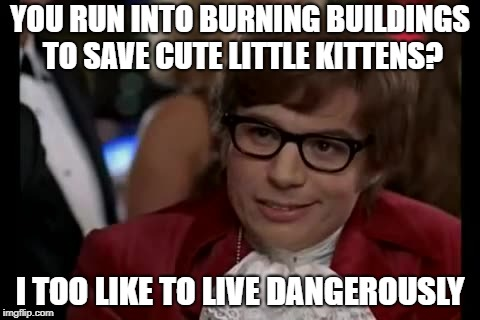 I Too Like To Live Dangerously Meme | YOU RUN INTO BURNING BUILDINGS TO SAVE CUTE LITTLE KITTENS? I TOO LIKE TO LIVE DANGEROUSLY | image tagged in memes,i too like to live dangerously | made w/ Imgflip meme maker