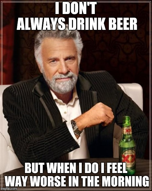 The Most Interesting Man In The World Meme | I DON'T ALWAYS DRINK BEER BUT WHEN I DO I FEEL WAY WORSE IN THE MORNING | image tagged in memes,the most interesting man in the world | made w/ Imgflip meme maker