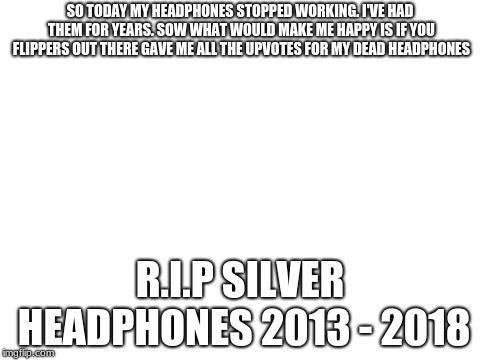 blank white template | SO TODAY MY HEADPHONES STOPPED WORKING. I'VE HAD THEM FOR YEARS. SOW WHAT WOULD MAKE ME HAPPY IS IF YOU FLIPPERS OUT THERE GAVE ME ALL THE U | image tagged in blank white template | made w/ Imgflip meme maker