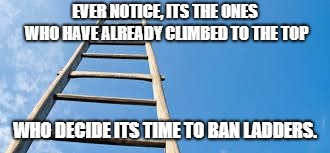 the ladder | EVER NOTICE, ITS THE ONES WHO HAVE ALREADY CLIMBED TO THE TOP WHO DECIDE ITS TIME TO BAN LADDERS. | image tagged in social commentary | made w/ Imgflip meme maker