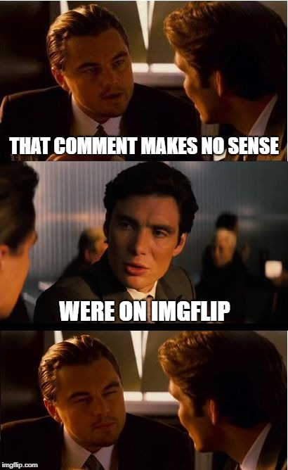 Inception | THAT COMMENT MAKES NO SENSE WERE ON IMGFLIP | image tagged in memes,inception,that face you make,meanwhile on imgflip,imgflip users,imgflip humor | made w/ Imgflip meme maker