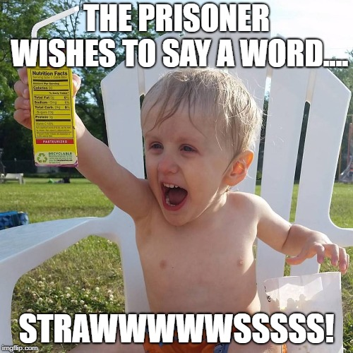 Straws | THE PRISONER WISHES TO SAY A WORD.... STRAWWWWWSSSSS! | image tagged in juice box kid,plastic straws | made w/ Imgflip meme maker
