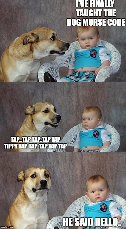 I'VE FINALLY TAUGHT THE DOG MORSE CODE HE SAID HELLO.. TAP...TAP TAP..TAP TAP TIPPY TAP. TAP..TAP TAP TAP | image tagged in dog and baby | made w/ Imgflip meme maker