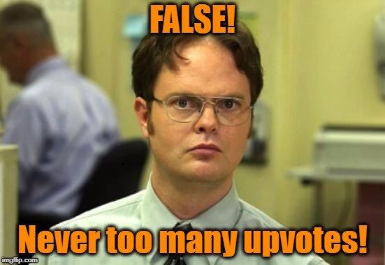 dwight | FALSE! Never too many upvotes! | image tagged in dwight | made w/ Imgflip meme maker