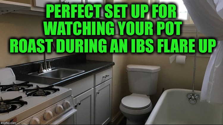 This is an actual apartment in St. Louis | PERFECT SET UP FOR WATCHING YOUR POT ROAST DURING AN IBS FLARE UP | image tagged in small,disgusting,whatcha cooking,ewwwww | made w/ Imgflip meme maker