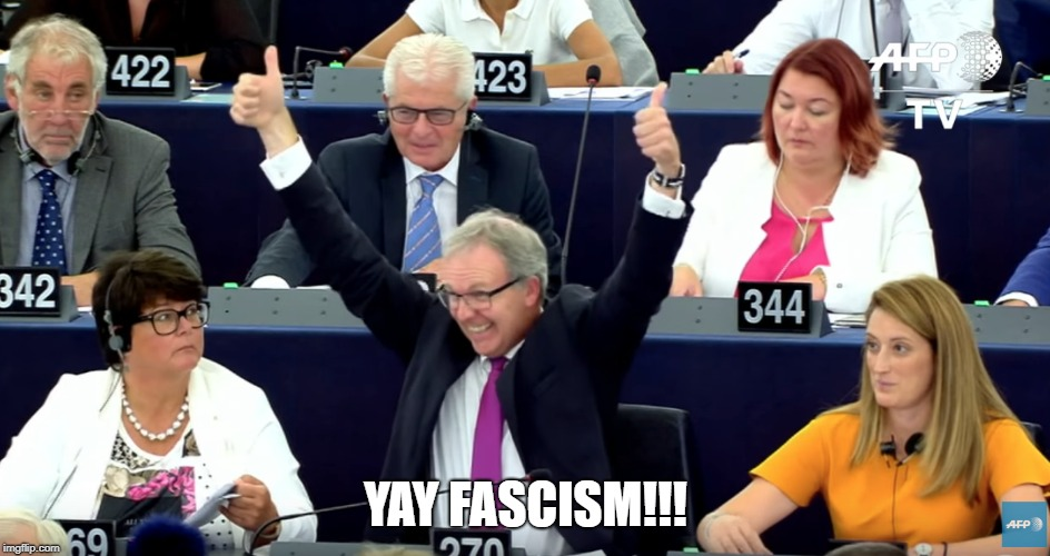 EU Guy Celebrates Article 13... | YAY FASCISM!!! | image tagged in eu,memes,article 13,fascism,free speech | made w/ Imgflip meme maker