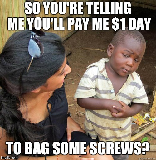 skeptical black boy | SO YOU'RE TELLING ME YOU'LL PAY ME $1 DAY TO BAG SOME SCREWS? | image tagged in skeptical black boy | made w/ Imgflip meme maker