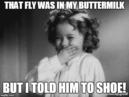 Shirley Temple Laughing | THAT FLY WAS IN MY BUTTERMILK BUT I TOLD HIM TO SHOE! | image tagged in shirley temple laughing | made w/ Imgflip meme maker