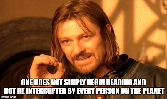 One Does Not Simply Meme | ONE DOES NOT SIMPLY BEGIN READING AND NOT BE INTERRUPTED BY EVERY PERSON ON THE PLANET | image tagged in memes,one does not simply | made w/ Imgflip meme maker
