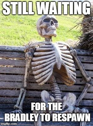 Waiting Skeleton Meme | STILL WAITING FOR THE BRADLEY TO RESPAWN | image tagged in memes,waiting skeleton | made w/ Imgflip meme maker