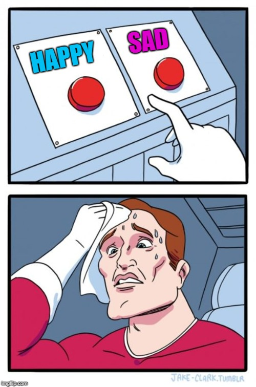 Two Buttons Meme | HAPPY SAD | image tagged in memes,two buttons | made w/ Imgflip meme maker