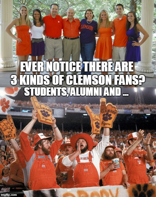 Clemson Fans | EVER NOTICE THERE ARE 3 KINDS OF CLEMSON FANS? STUDENTS, ALUMNI AND ... | image tagged in clemson,sports fans | made w/ Imgflip meme maker