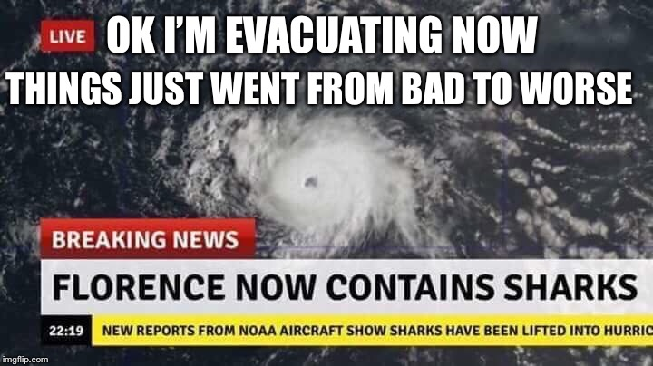Hurricane Florence | OK I'M EVACUATING NOW THINGS JUST WENT FROM BAD TO WORSE | image tagged in hurricane florence,hurricane,evacuation,sharks,memes | made w/ Imgflip meme maker