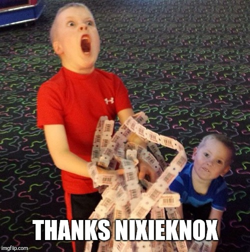 Excited Kid | THANKS NIXIEKNOX | image tagged in excited kid | made w/ Imgflip meme maker