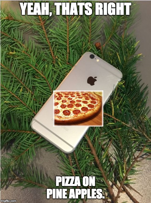 YEAH, THATS RIGHT PIZZA ON PINE APPLES. | image tagged in pineapple | made w/ Imgflip meme maker