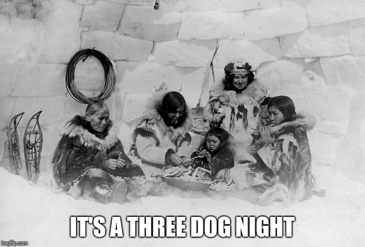 Eskimo Family | IT'S A THREE DOG NIGHT | image tagged in eskimo family | made w/ Imgflip meme maker