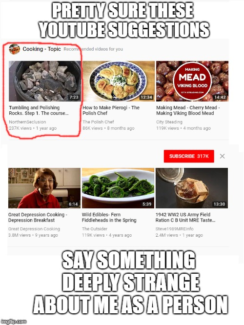 Am I really this weird? | PRETTY SURE THESE YOUTUBE SUGGESTIONS SAY SOMETHING DEEPLY STRANGE ABOUT ME AS A PERSON | image tagged in youtube,suggestions,weird,funny memes,wtf | made w/ Imgflip meme maker