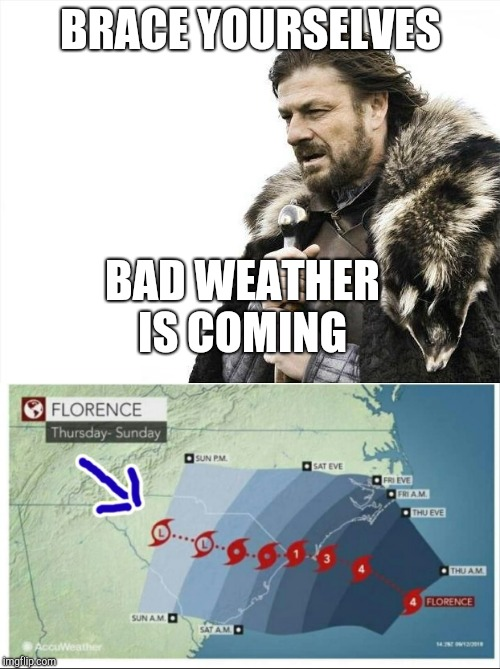 BRACE YOURSELVES BAD WEATHER IS COMING | made w/ Imgflip meme maker