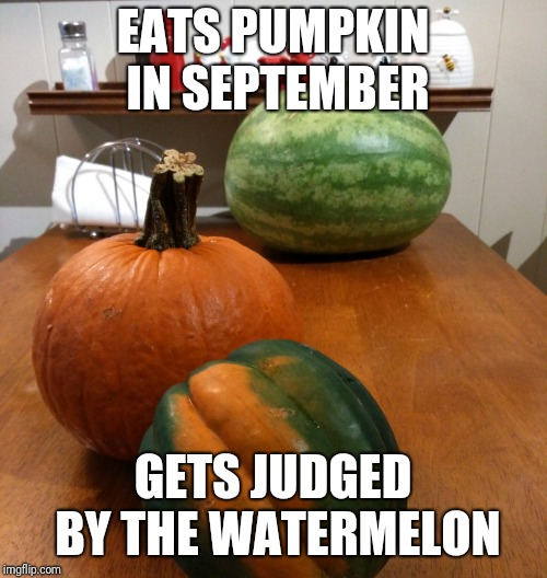 Judged by the watermelon | EATS PUMPKIN IN SEPTEMBER GETS JUDGED BY THE WATERMELON | image tagged in pumpkin,september,fall,watermelon,judged,pumpkin spice | made w/ Imgflip meme maker