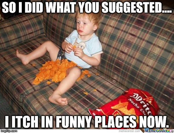 Doritos kid | SO I DID WHAT YOU SUGGESTED.... I ITCH IN FUNNY PLACES NOW. | image tagged in doritos kid | made w/ Imgflip meme maker