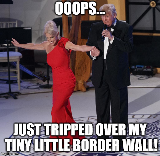 Conway and Trump | OOOPS... JUST TRIPPED OVER MY TINY LITTLE BORDER WALL! | image tagged in conway and trump | made w/ Imgflip meme maker