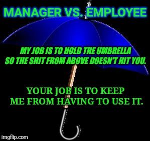 MANAGER VS. EMPLOYEE MY JOB IS TO HOLD THE UMBRELLA SO THE SHIT FROM ABOVE DOESN'T HIT YOU. YOUR JOB IS TO KEEP ME FROM HAVING TO USE IT. | image tagged in umbrella | made w/ Imgflip meme maker