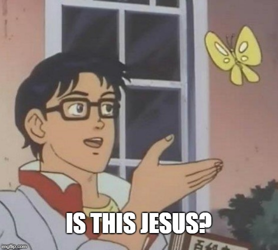 Is This A Pigeon Meme | IS THIS JESUS? | image tagged in memes,is this a pigeon | made w/ Imgflip meme maker