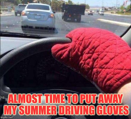 Hard to give someone the finger though. | ALMOST TIME TO PUT AWAY MY SUMMER DRIVING GLOVES | image tagged in hot,car,memes,funny | made w/ Imgflip meme maker