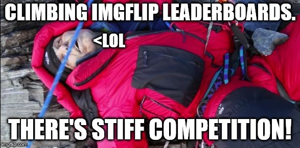 Mount Flipperest, the higher you go the less oxygen in your brain!! | CLIMBING IMGFLIP LEADERBOARDS. THERE'S STIFF COMPETITION! <LOL | image tagged in imgflip users,imgflip community,imgflip mods,welcome to imgflip,i see dead people,dead | made w/ Imgflip meme maker