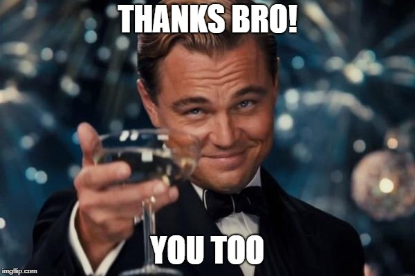 Leonardo Dicaprio Cheers Meme | THANKS BRO! YOU TOO | image tagged in memes,leonardo dicaprio cheers | made w/ Imgflip meme maker
