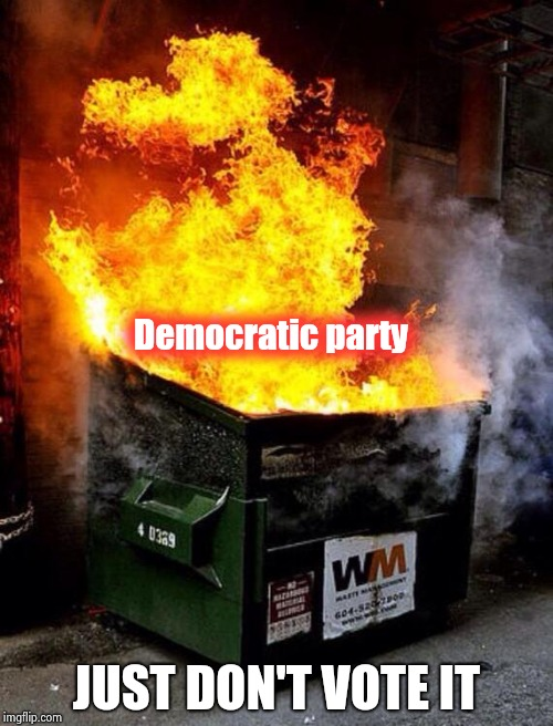 Liberals vs. Socialists , they don't even like themselves | Democratic party JUST DON'T VOTE IT | image tagged in dumpster fire,democrats,party of hate,down,with,shut up | made w/ Imgflip meme maker